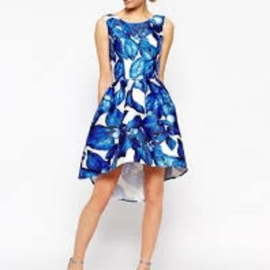 Chi Chi London high low dress on blue  floral